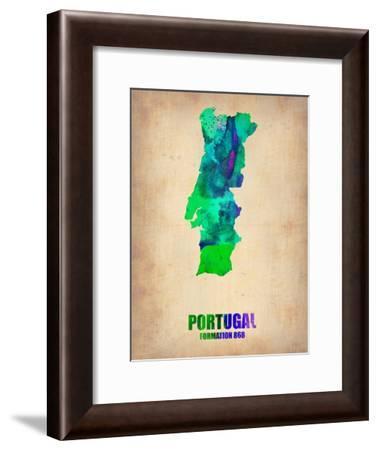 Portugal Watercolor Map-NaxArt-Framed Art Print