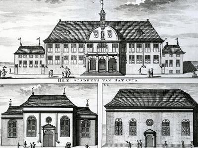 Portuguese Church and Town Hall in Batavia, 19th Century--Giclee Print