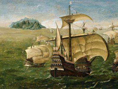 Portuguese Fleet in Early 16th century- Anthoniszoon-Giclee Print