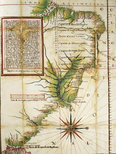 Portuguese Map Showing the Coast of Brazil at Cape of San Augustin Near the Straits of Magellan--Giclee Print