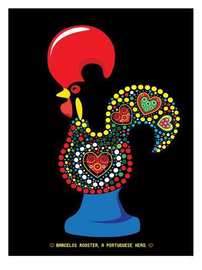 Portuguese Rooster Black-Patricia Pino-Art Print
