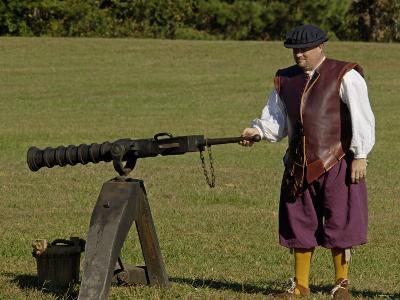 Portuguese Swivel Gun from the 1600s, an Artillery Demonstration at Yorktown Battlefield, Virginia--Photographic Print
