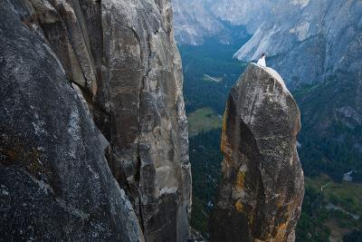 Posing on the Lost Arrow Spire Above Yosemite Village on Her Wedding Day-Ben Horton-Photographic Print