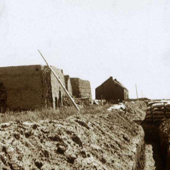 Post on the Yser, Flanders, Belgium, c1914-c1918-Unknown-Photographic Print