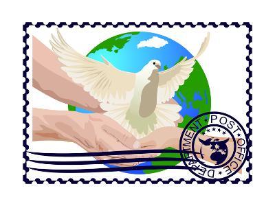 Postage Stamp. A White Dove- GUARDING-OWO-Art Print