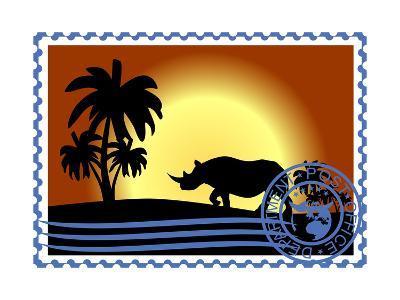Postage Stamp. Savannah- GUARDING-OWO-Art Print