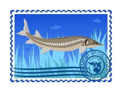 Postage Stamp. Sturgeon- GUARDING-OWO-Art Print