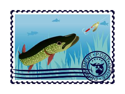 Postage Stamp. The Hunt For Pike- GUARDING-OWO-Art Print