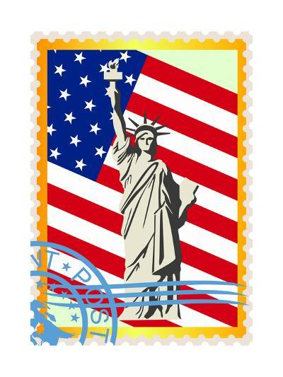 Postage Stamps With The Flag And The Statue Of Liberty- GUARDING-OWO-Art Print