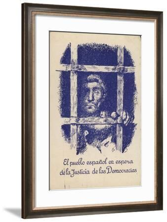 Postcard Campaigning for Justice and Democracy for the People of Spain under the Fascist Regime--Framed Giclee Print