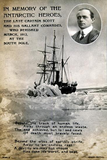 Postcard Commemorating Captain Scott's Ill-Fated Expedition to the South Pole, C1912--Giclee Print