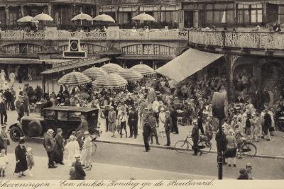 Postcard Depicting a Busy Restaurant in Scheveningen--Photographic Print