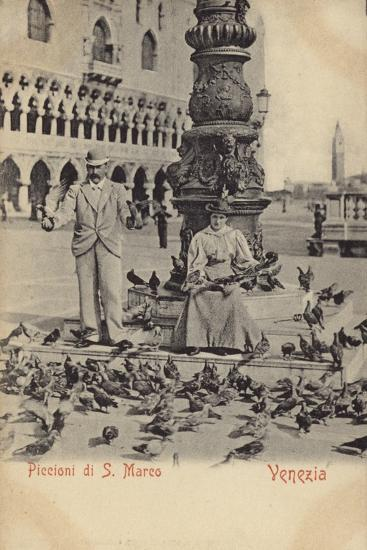 Postcard Depicting a Man and Woman Feeding Pigeons in Piazza San Marco--Photographic Print