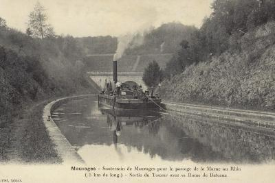 Postcard Depicting a Steam Boat on the Waters of the Marne–Rhine Canal--Photographic Print