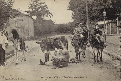 Postcard Depicting a Women Falling from Her Donkey--Photographic Print