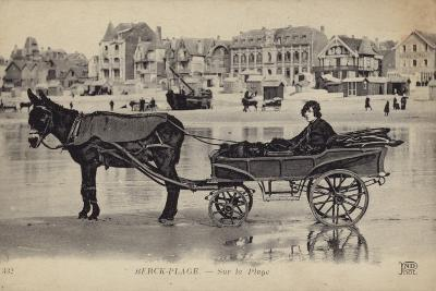 Postcard Depicting a Young Man Sitting in a Cart Being Drawn by a Donkey--Photographic Print