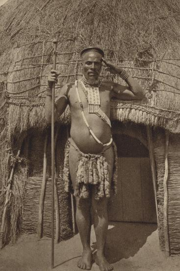 Postcard Depicting a Zulu Headman--Photographic Print