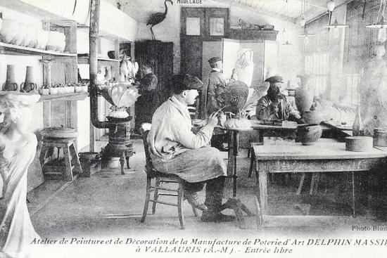 Postcard Depicting Artisans at Work Making Delphin Massier Art Pottery in Vallauris--Giclee Print
