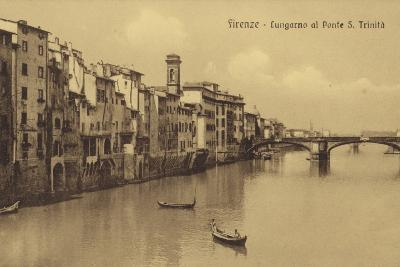Postcard Depicting Buildings Along the Embankment and Ponte Santa Trinita Crossing the River Arno--Photographic Print