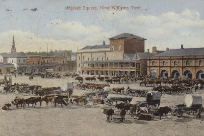 Postcard Depicting Cattle and Other Livestock in the Market Square--Photographic Print
