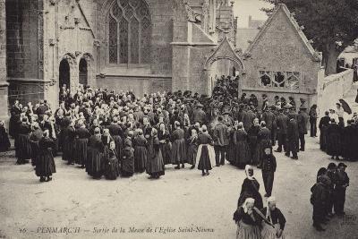Postcard Depicting Crowds Gather Outside L'Eglise Saint-Nonna after Mass--Photographic Print