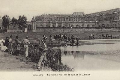 Postcard Depicting Fishing in the Grounds of the Palace of Versailles--Photographic Print