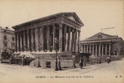 Postcard Depicting La Maison Carree and the Theatre in Nimes--Photographic Print