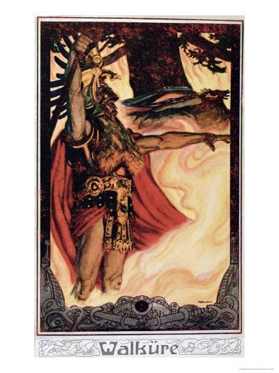 Postcard Depicting Odin Calling Up the Fire, 1914--Giclee Print