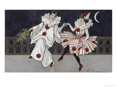 Postcard Depicting Pierrot and His Companion, c.1900-Florence Hardy-Giclee Print