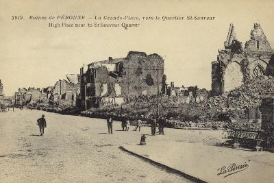 Postcard Depicting Ruins and Damaged Buildings in Le Grande Place--Photographic Print