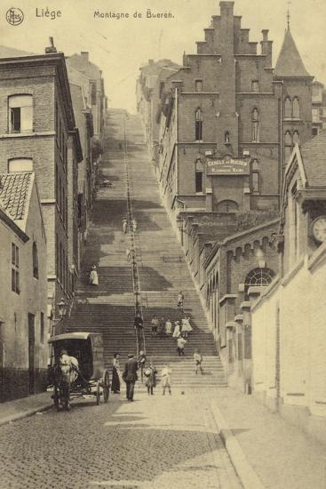 Postcard Depicting Stairway of the Montagne De Bueren--Photographic Print