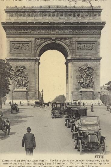 Postcard Depicting the Arc De Triomphe on the Champs-Elysees--Photographic Print