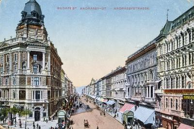 Postcard Depicting the Avenue Andrassy in Budapest, Hungary, 1913--Giclee Print