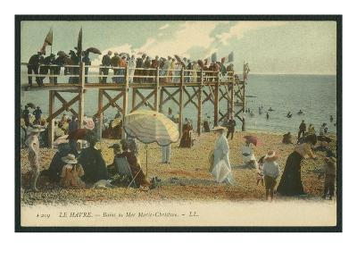 Postcard Depicting the Baths Marie-Christine at Le Havre, C.1900 (Coloured B/W Photo)-French Photographer-Giclee Print