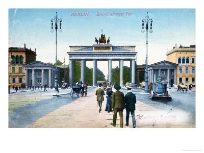 Postcard Depicting the Brandenburg Gate in Berlin--Giclee Print