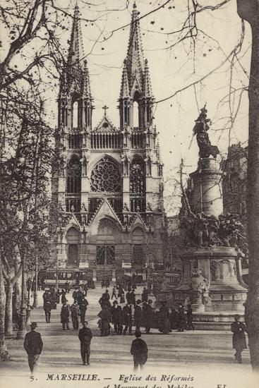 Postcard Depicting the Eglise Des Reformes and the Monument Des Mobiles--Photographic Print
