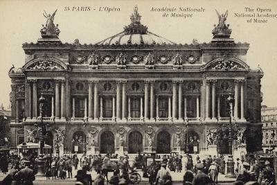 Postcard Depicting the Facade of the Palais Garnier--Photographic Print