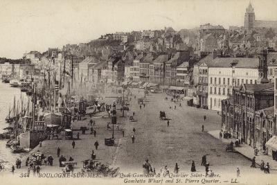 Postcard Depicting the Gambetta Wharf and St Pierre Quarter in Boulogne--Photographic Print