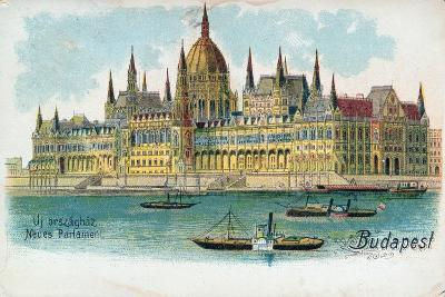 Postcard Depicting the Houses of Parliament, Budapest--Giclee Print