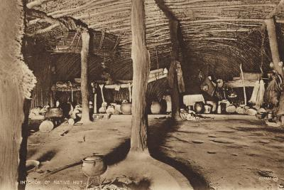 Postcard Depicting the Interior of a Native Hut--Photographic Print