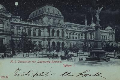 Postcard Depicting the Liebenberg Monument and the University of Vienna--Photographic Print
