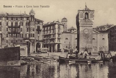 Postcard Depicting the Piazza and Torre Leon Pancaldo--Photographic Print