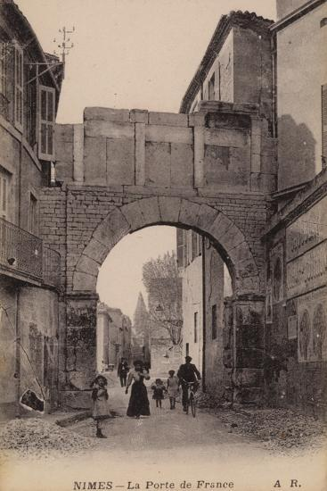 Postcard Depicting the Porte De France--Photographic Print