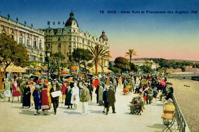 Postcard Depicting the Promenade Des Anglais and the Hotel Ruhl, Nice, C.1930--Giclee Print