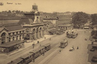 Postcard Depicting the Railway Station in Namur--Photographic Print