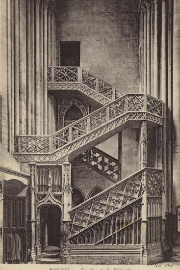 Postcard Depicting the Stairs of the Library--Photographic Print