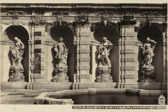 Postcard Depicting the Statues of Nymphs in the Grounds of the Zwinger--Photographic Print