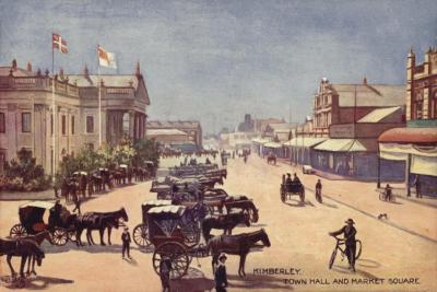 Postcard Depicting the Town Hall and Market Square--Giclee Print