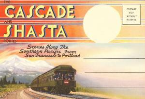 Postcard Folder, Cascade, Shasta, Routes