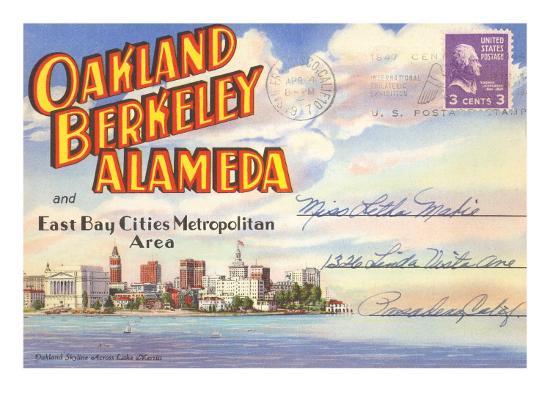 Postcard Folder, Oakland, Berkeley, Alameda, California--Art Print